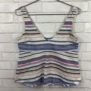 ZARA BASIC DENIM COUTURE STRIPED V NECK TOP S